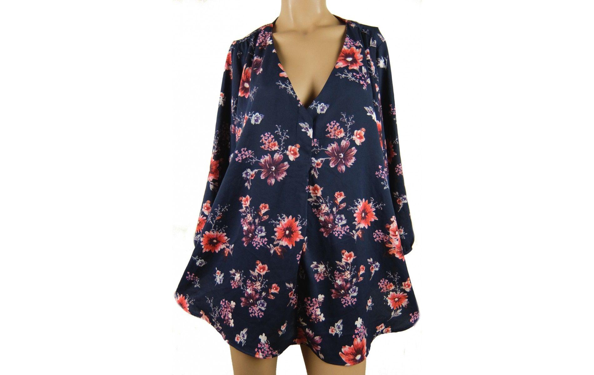 718a25b8d3 H&M-es trendi, virágos blúz 46/48-as - Női ing, blúz - Molett használt ruha  - tunika