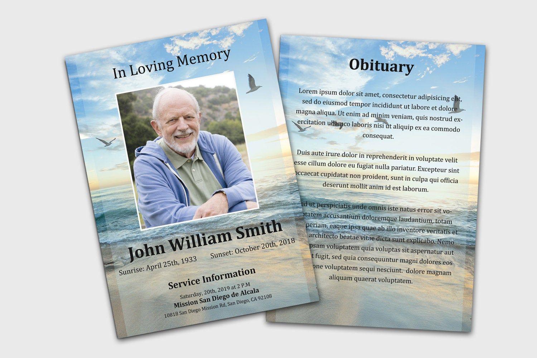 Ocean Funeral Memorial Card Template Funeral Program Template Funeral Card Template Ob Memorial Cards For Funeral Funeral Program Template Memorial Cards