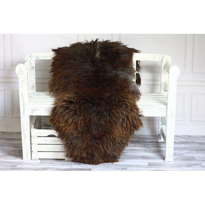 Canada Wool Genuine Natural Sheepskin Soft Dark Brown Area Rug