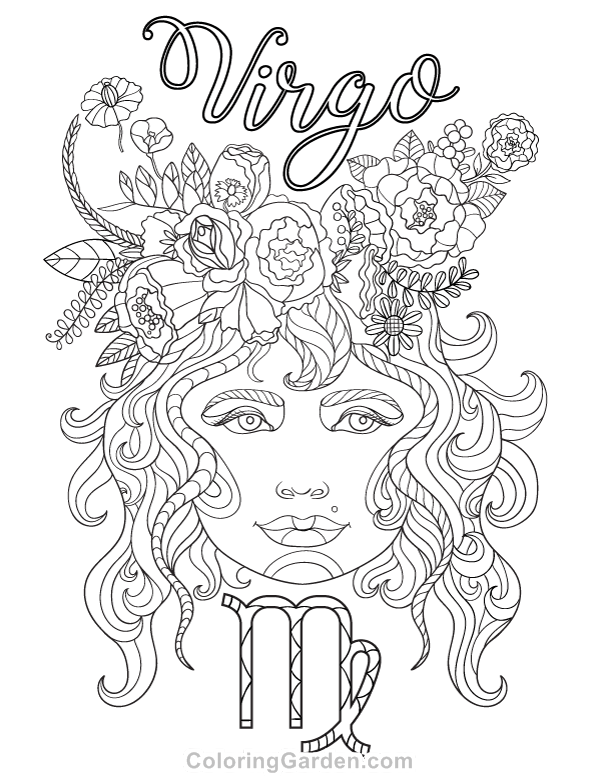 Free Printable Virgo Adult Coloring Page Download It In PDF Format At Coloringgarden
