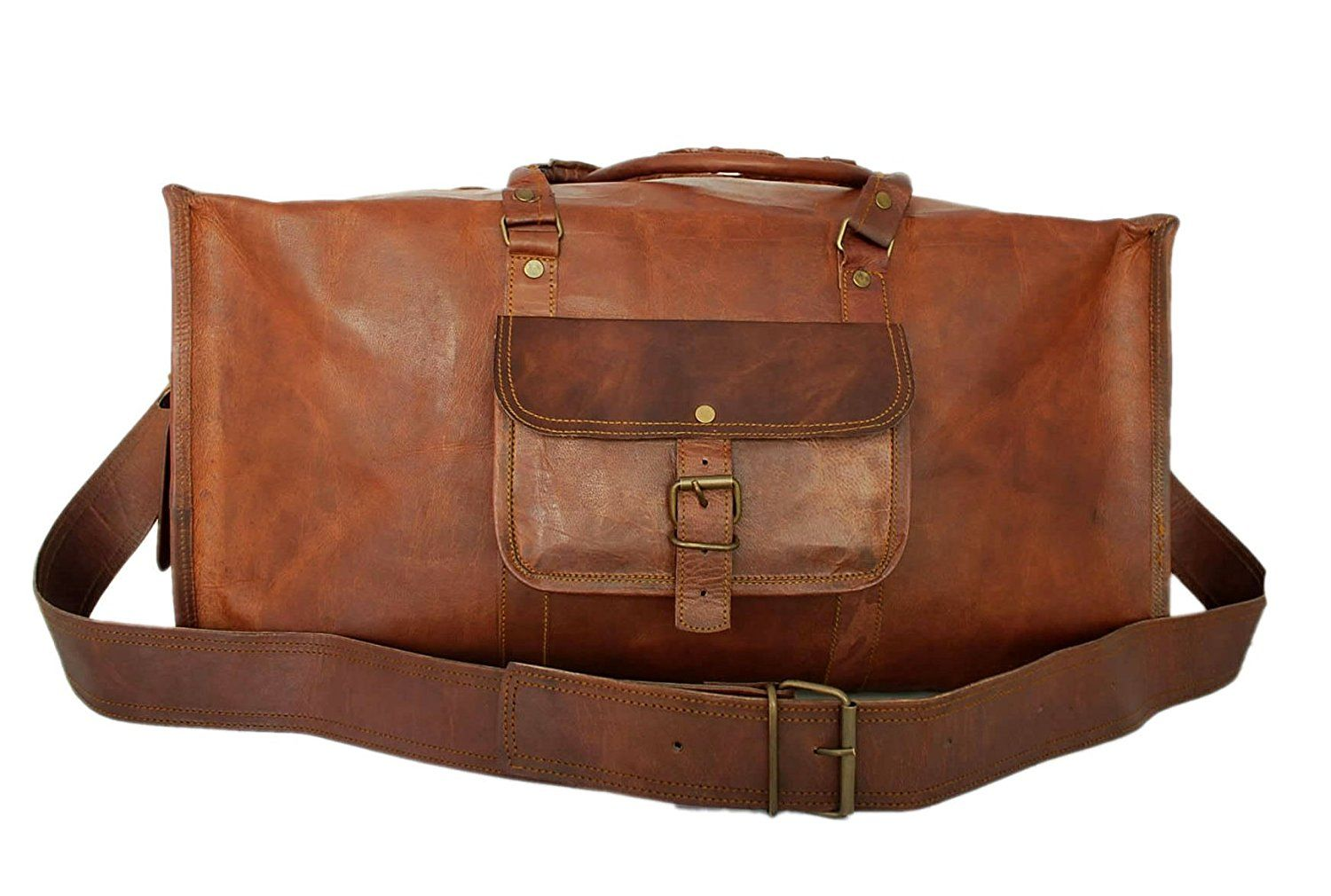 Handmade Mens Travel Bag Genuine Leather Duffel Weekender Luggage Carry On  -- To view further 0f0659c0e9
