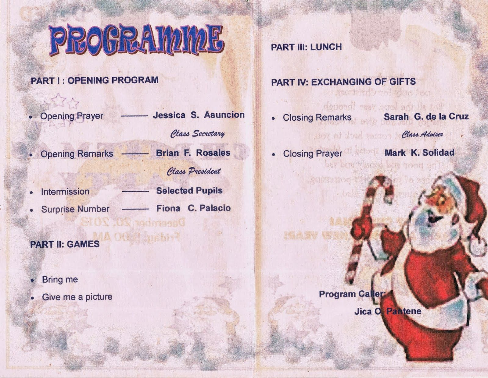 Image Result For Sample Programme For Christmas Party Music