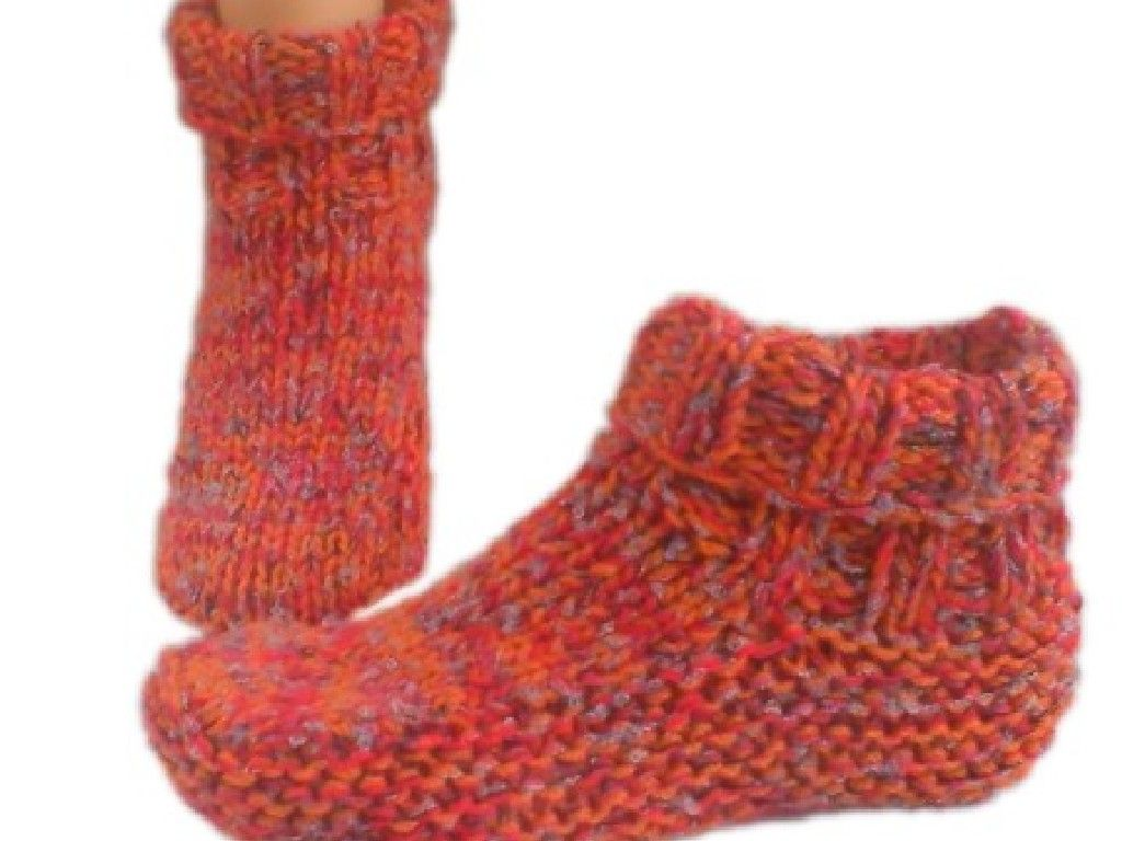 Country Slipper Socks Knitting Pattern | Knit Slippers | Pinterest ...