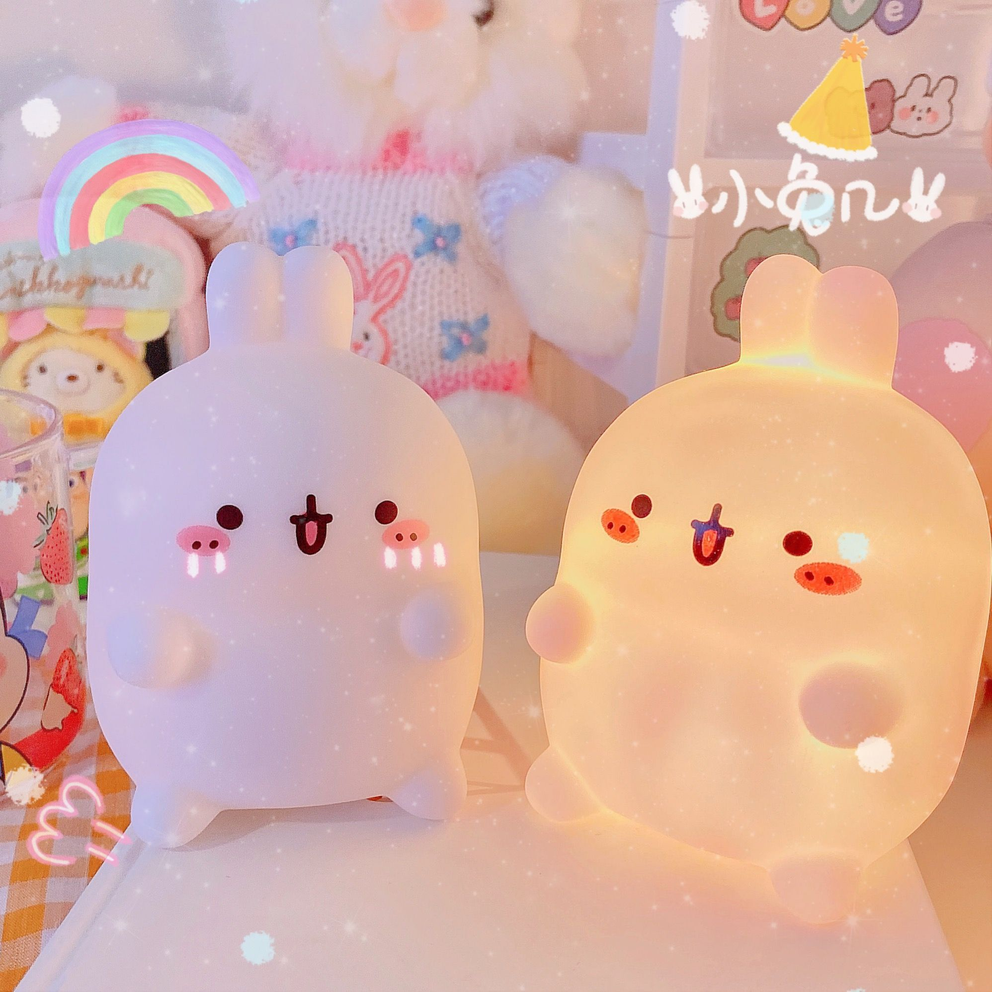 Kawaii Happy Bunny Bedside Night Light | Cute Insp