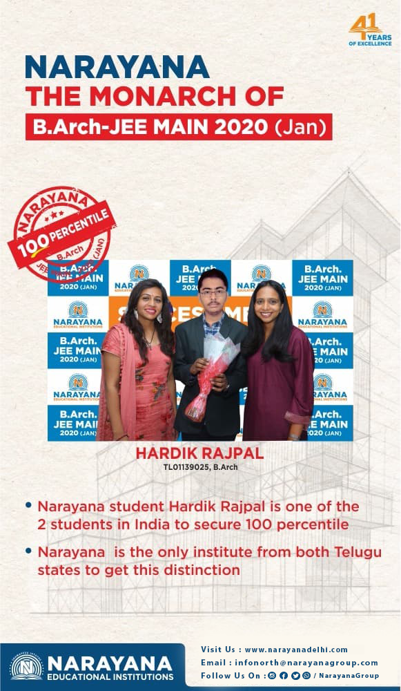 Narayana The Monarch Of B Arch Jee Main 2020 Jan The Narayana Group Is Proud Of The Incredible Results Of Our In 2020 Parenting Coaching Institute In Delhi Student