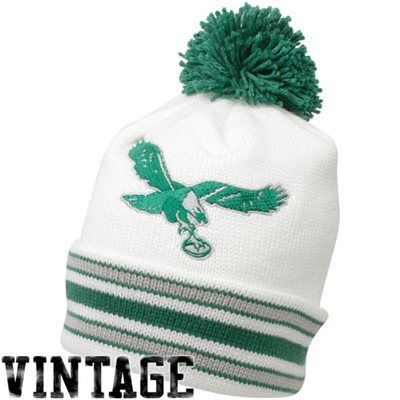 a06bf57c333 Mitchell   Ness Philadelphia Eagles White-Green Throwback Jersey Striped Cuffed  Knit Beanie
