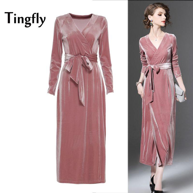 423985f6d2a9 Tingfly Новый 2017 зима бархатные длинное платье Элегантная дама V ...