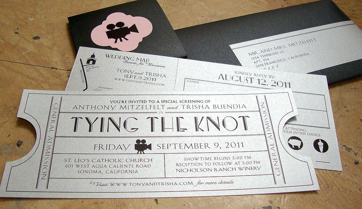 Vintage Ticket Wedding Invitation Suite / Cinema Film Theater Music ...