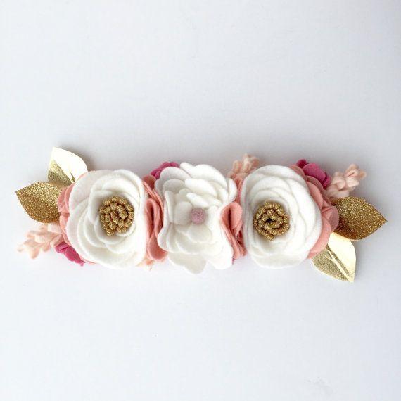Felt flower crown white pink and gold flower by TreasuredPeach