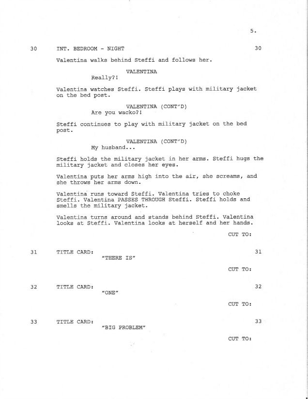 page 5 of royal love story from the grave sample shooting script