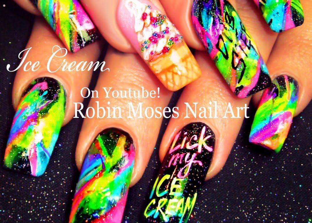 Splatter Paint Neon Nail Art   HOT Summer Ice Cream Diva Long Nails ...