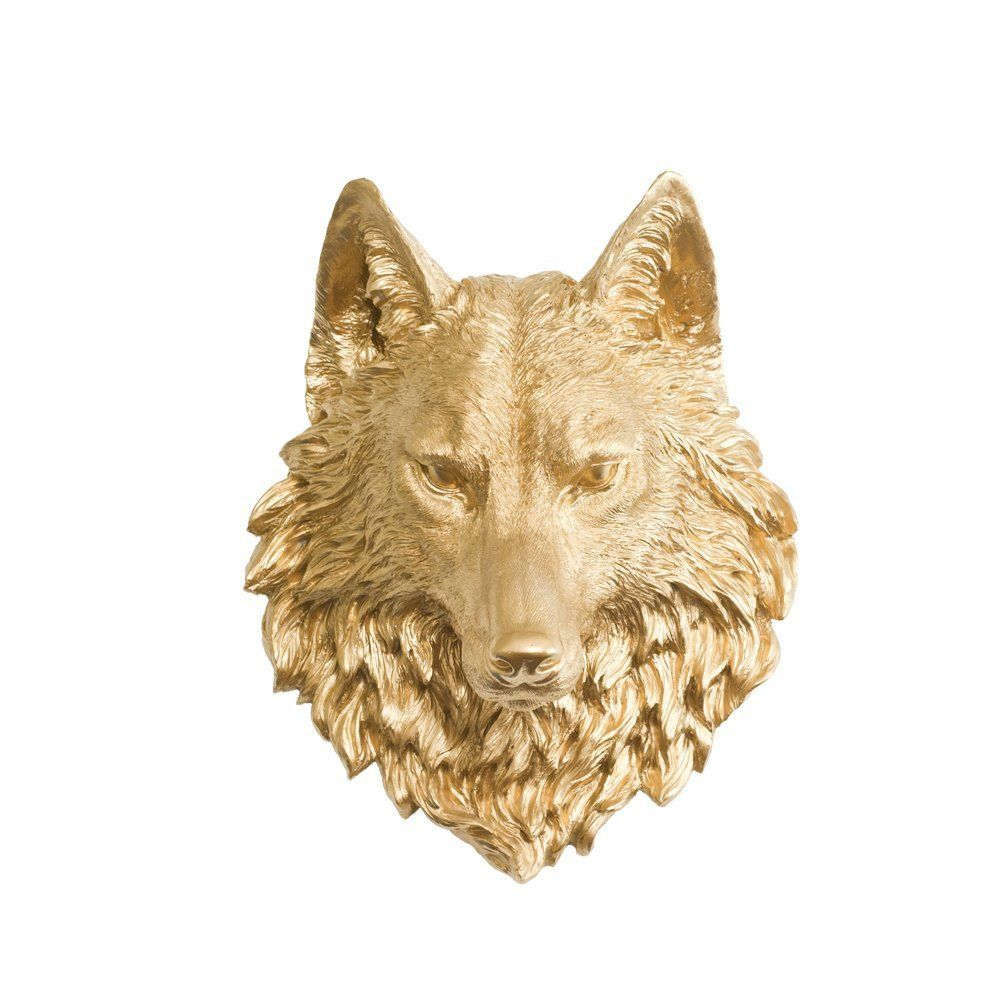 Wall Charmers Wolf in Gold - Faux Taxidermy Fauxidermy Fake Animal ...