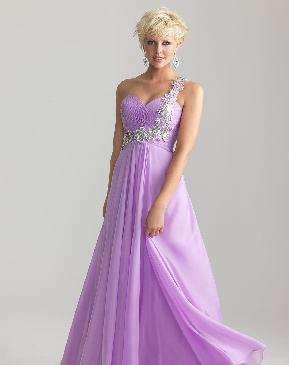 Lilac Chiffon Embellished One Shoulder Empire Waist Prom Dress ...