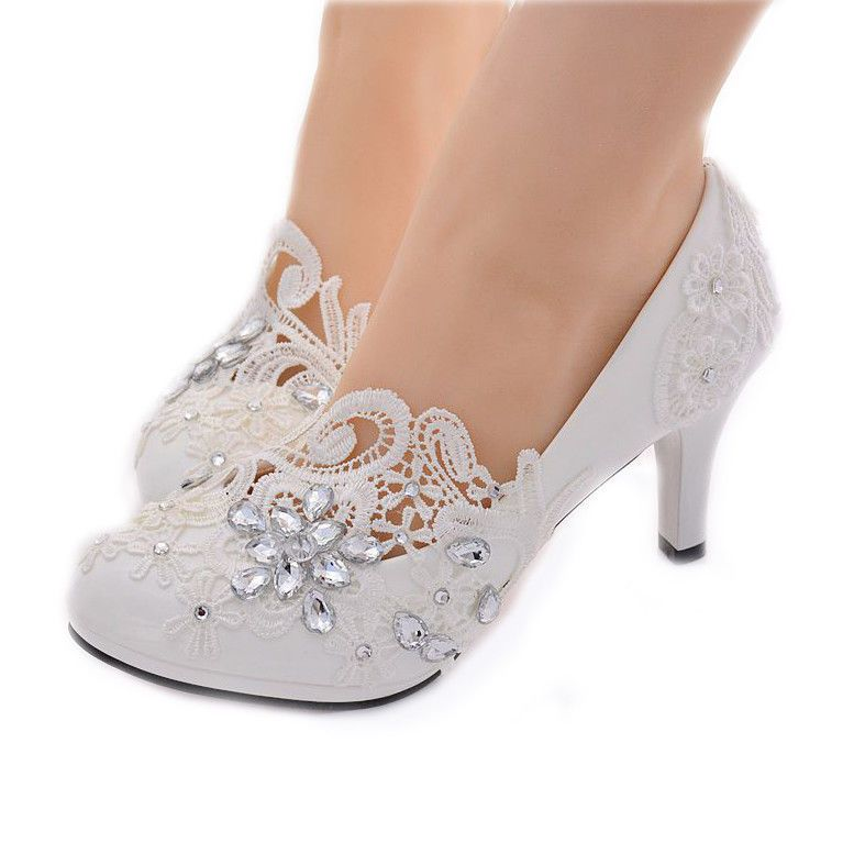 a241a532d2 Handmade Women White Lace Floral Bridal Wedding High Heels Shoe OUKL #027