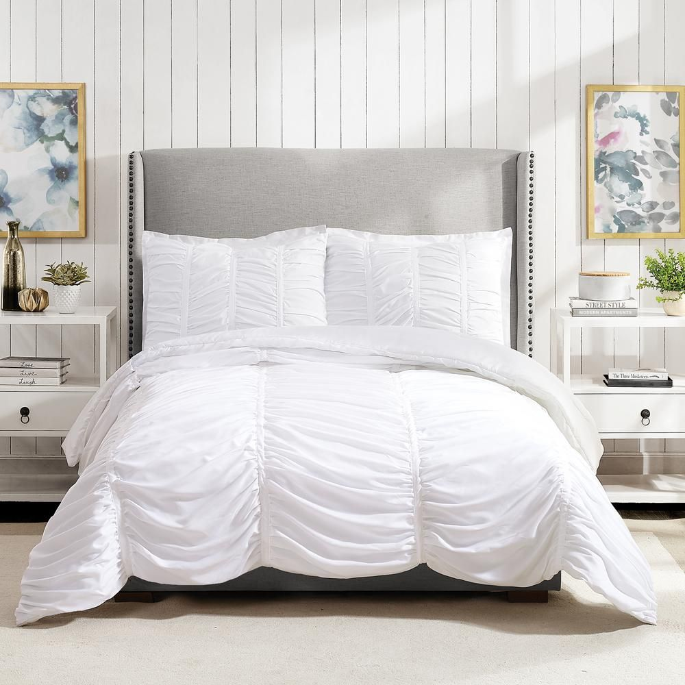 Modern Heirloom Emily Texture 3 Piece White Full Queen Polyester Comforter Set In 2020 Comforter Sets King Comforter Sets Twin Xl Comforter