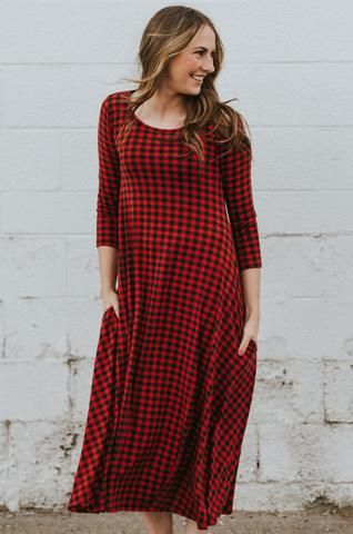 The Brookie Dress: Red/Black Check