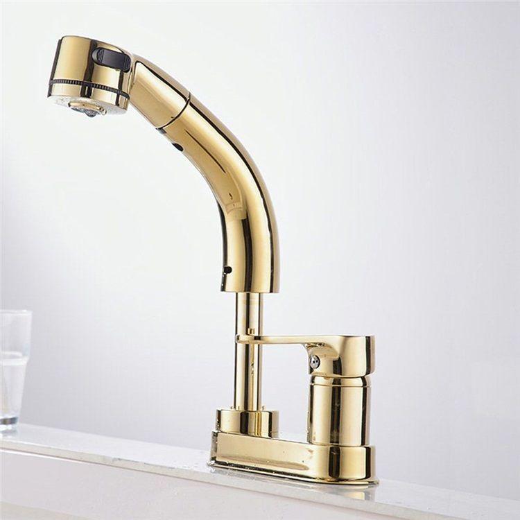 洗面蛇口 スプレー混合栓 洗髪用水栓 ホース引出式 立水栓 整流 シャワー吐水式 高さ調節 金色 Faucet Brushed Nickel Faucet Black Faucet