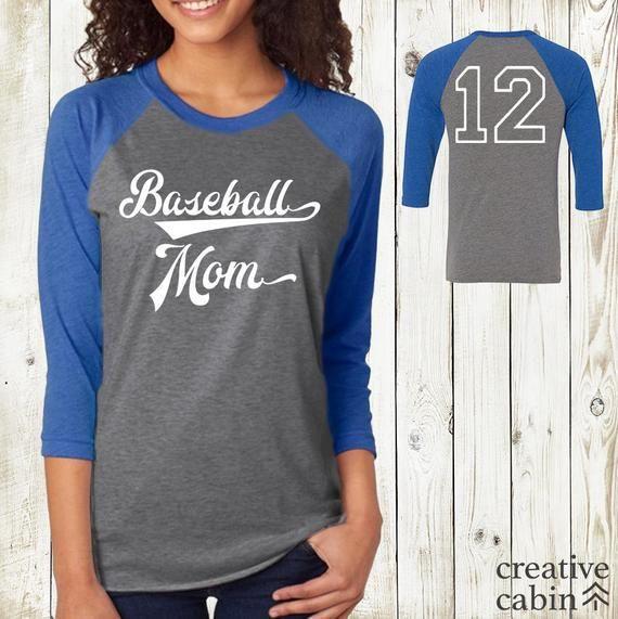 c038c7f86 Baseball Mom #1 Fan 3/4 Sleeve Raglan Baseball Tee with Customizable Jersey  Number T-shirt   Persona