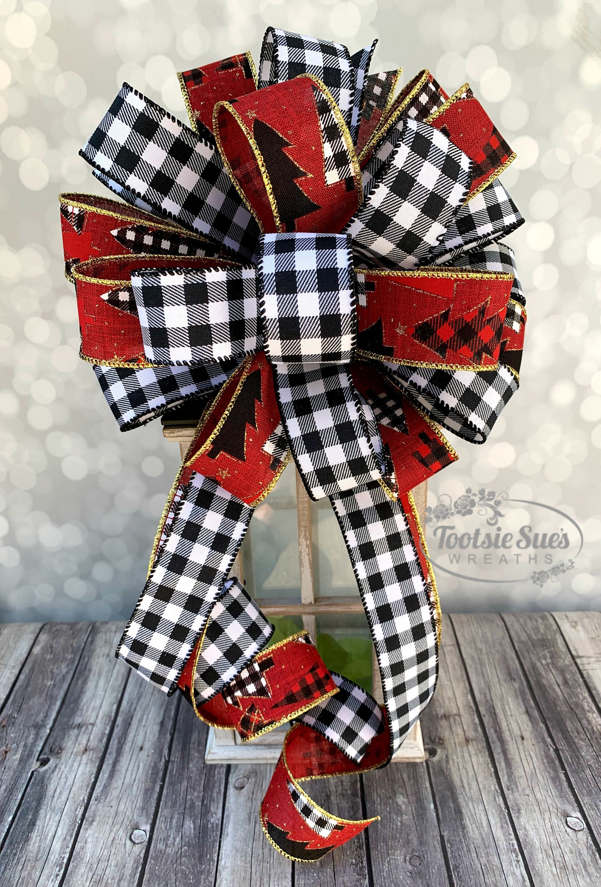 White Birch Buffalo Check Wreath Bow