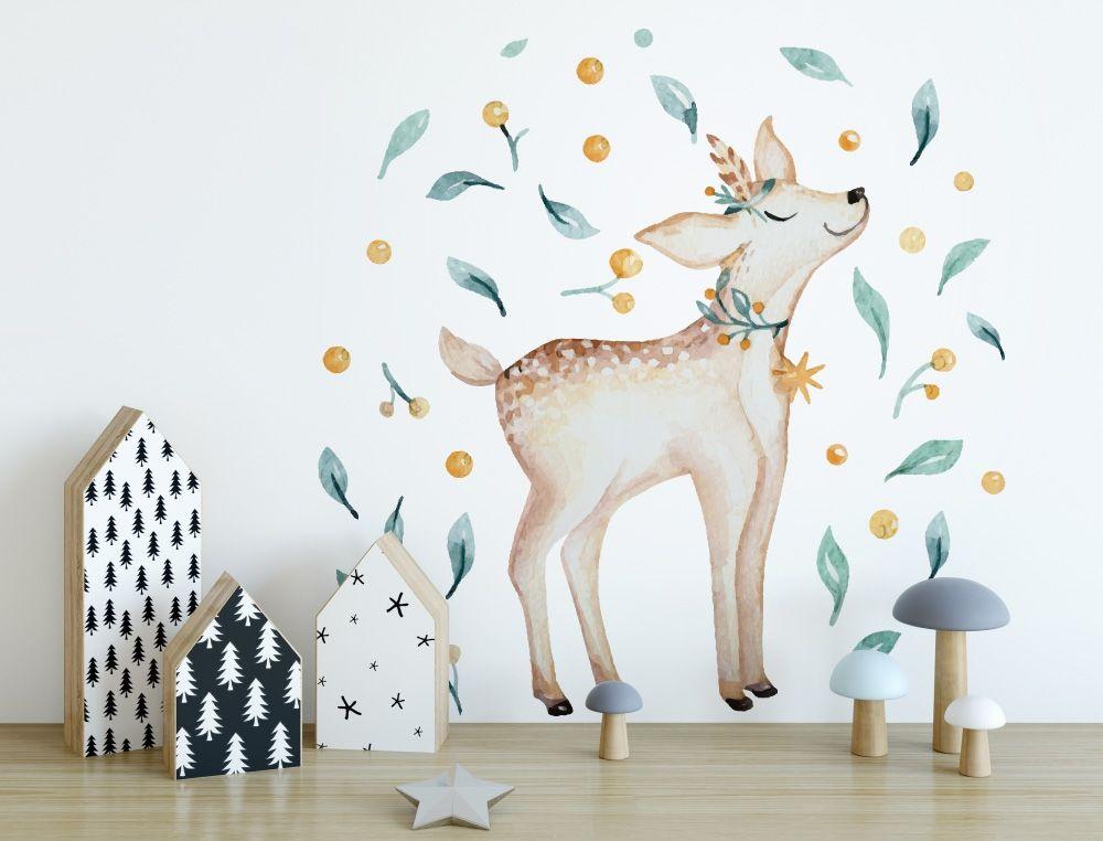 Kinderzimmer Aquarell Wandtattoo mit Reh, Blumen und