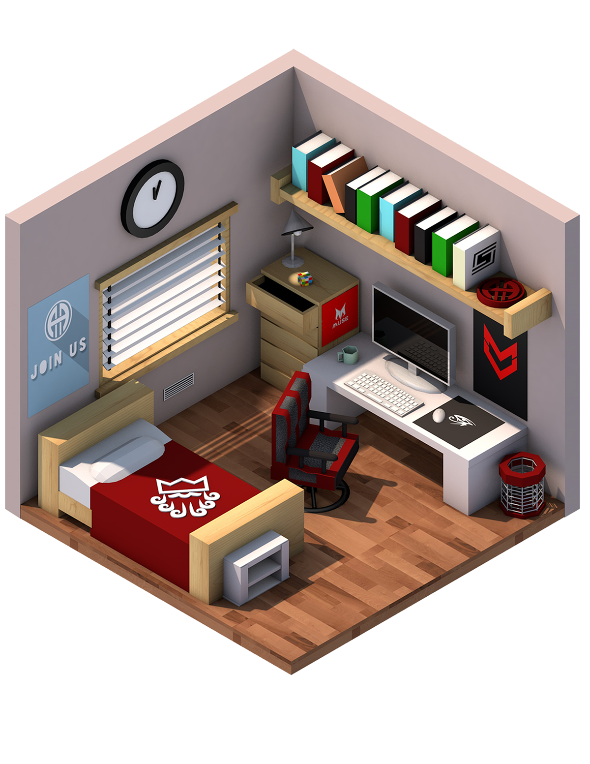 "Bedroom Drawing: Isometric Bedroom - ""A Designers Room"" On Behance"