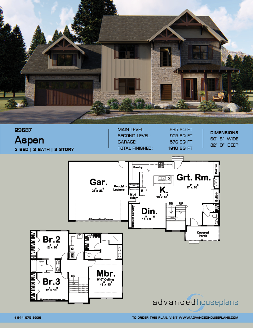 2 Story Craftsman Aspen Rustic House Plans Courtyard House Plans Craftsman House Plans