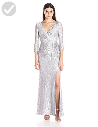 Adrianna Papell Women s Long Sleeve Wrap Lace Gown c3c1a198d2