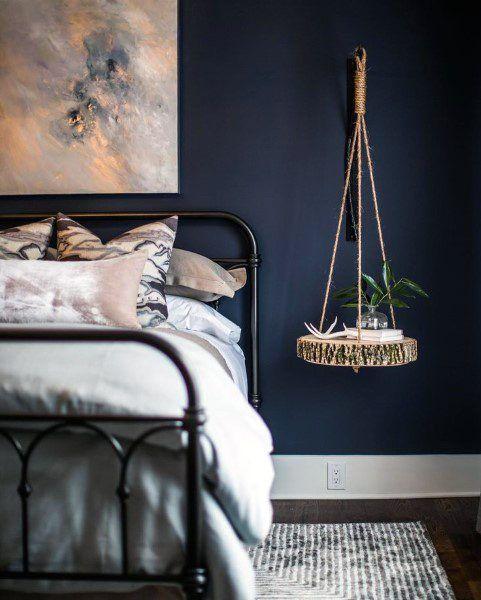 Top 50 besten Navy Blue Schlafzimmer Design-Ideen – beruhigende Wandfarben - Mann Stil | Tattoo