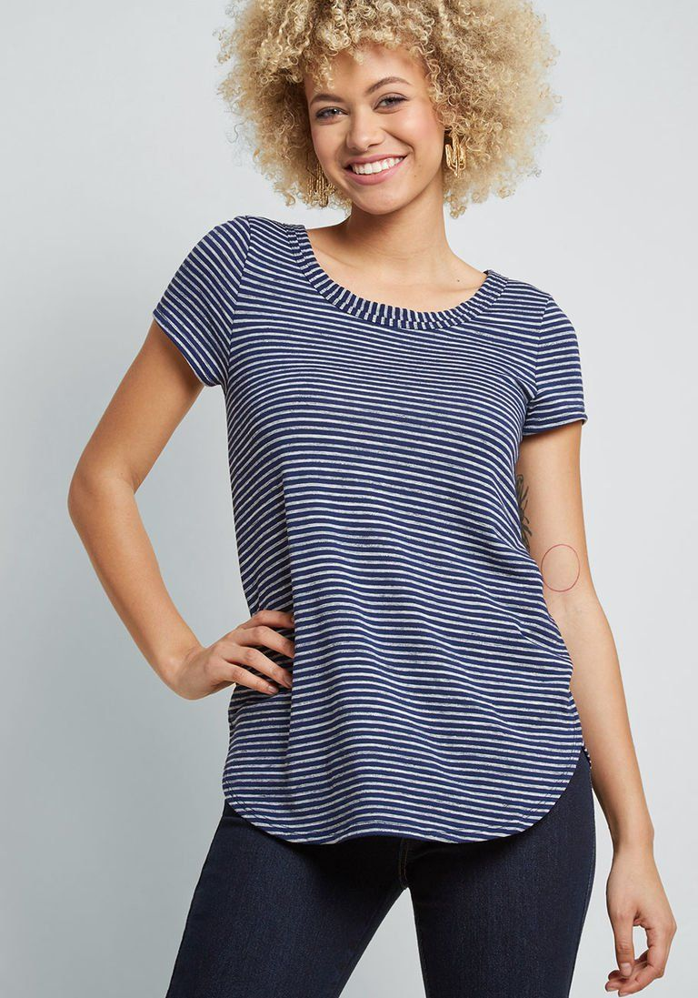 110c5df485a16 Able Staple Knit Top in Navy Stripes in 1X - Short Sleeve A-line Tunic by  ModCloth