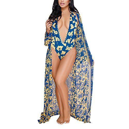 679f64c47f Women's Floral Print Swimwear Multiwear Long Sleeve Cover Up One-Piece  Bikini Swimsuit Set
