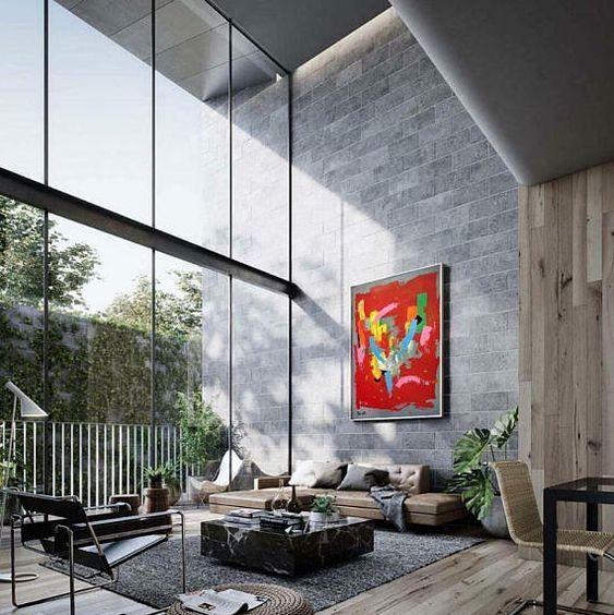 Red Abstract Painting Original Art Large Wall Art Office Etsy Minimal Interior Design Minimalism Interior House Design
