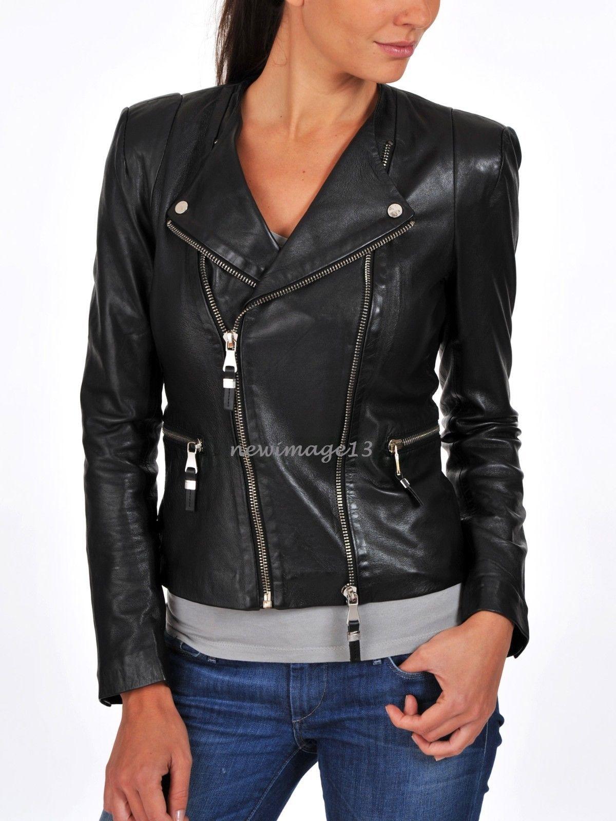 ef93654a647 100% Genuine Women'S Soft Lambskin F/C Leather Bomber Biker Jacket # Wj307