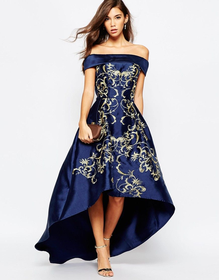 Image 4 of Chi Chi London Off Shoulder Midi Dress With Extreme ...
