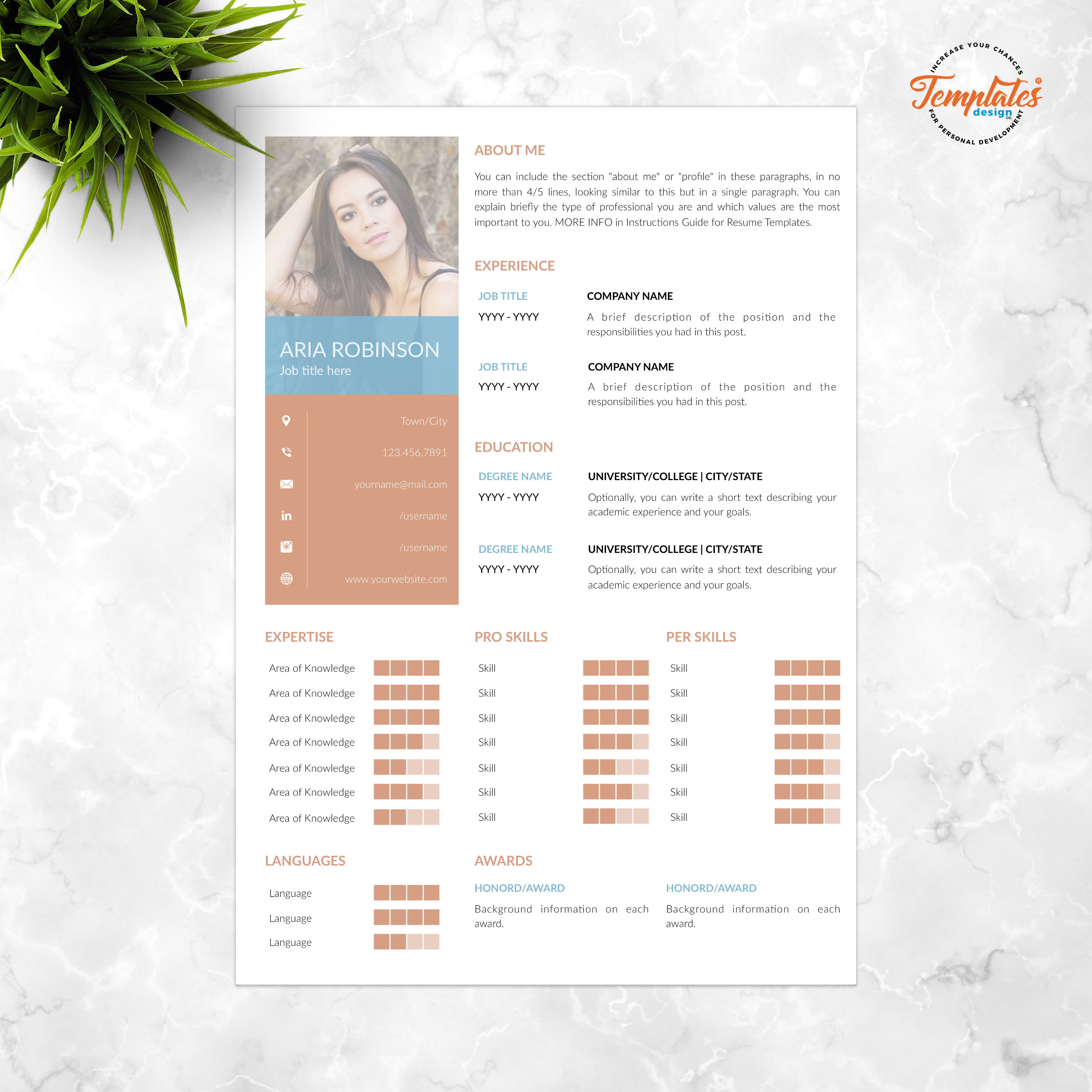 Creative & Simple Resume Template for Word and Pages / CV