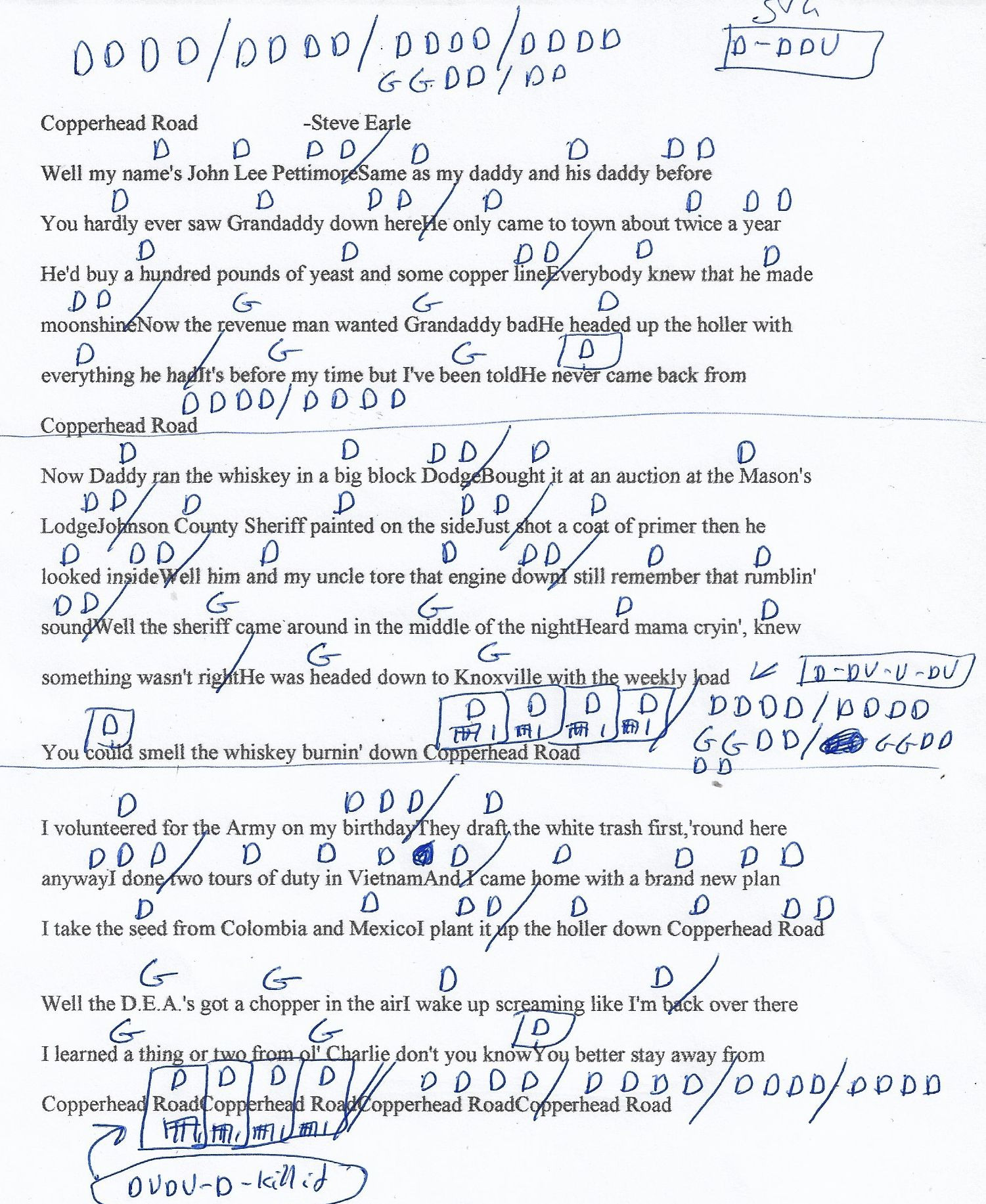 Copperhead Road Steve Earl Guitar Chord Chart   Chord chart ...