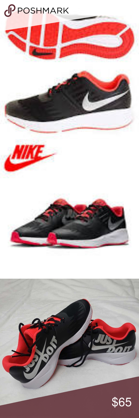 Nike Boys Running Shoes Black JUST DO IT Low Top L in 2020