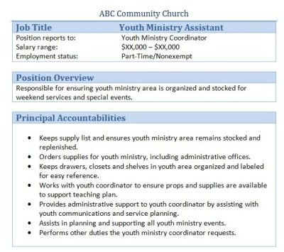 Sample Church Employee Job Descriptions Job description, Youth - youth pastor resume template