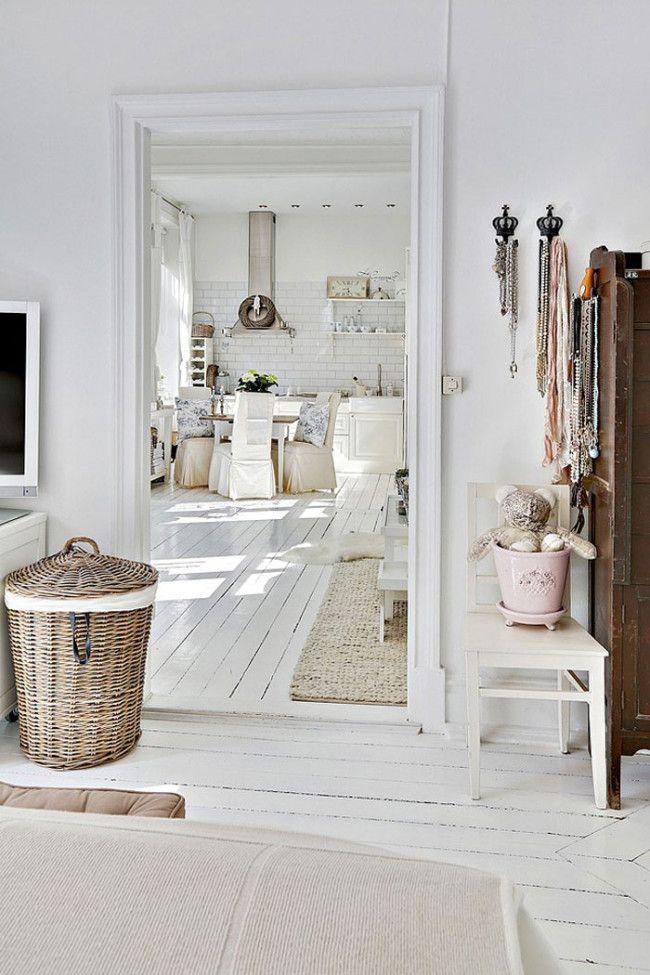White painted floorboards