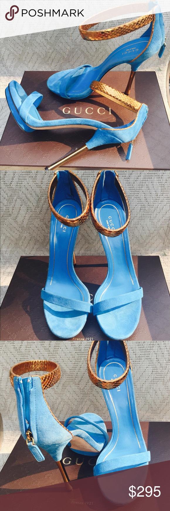 e00836768ede BNIB Blue Gucci Kelis Sandals EU 39 US 8 8.5!!!! ~ Beautiful