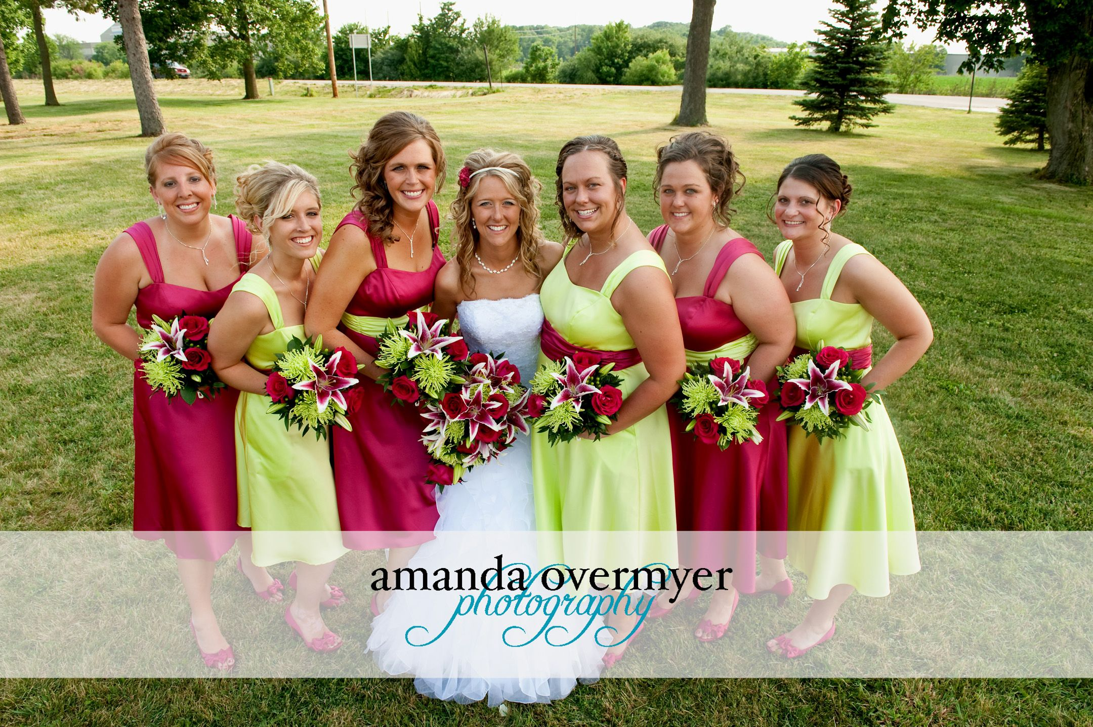 Hot pink and lime green wedding flowers by blossom basket photo hot pink and lime green wedding flowers by blossom basket photo by amanda overmyer ombrellifo Choice Image