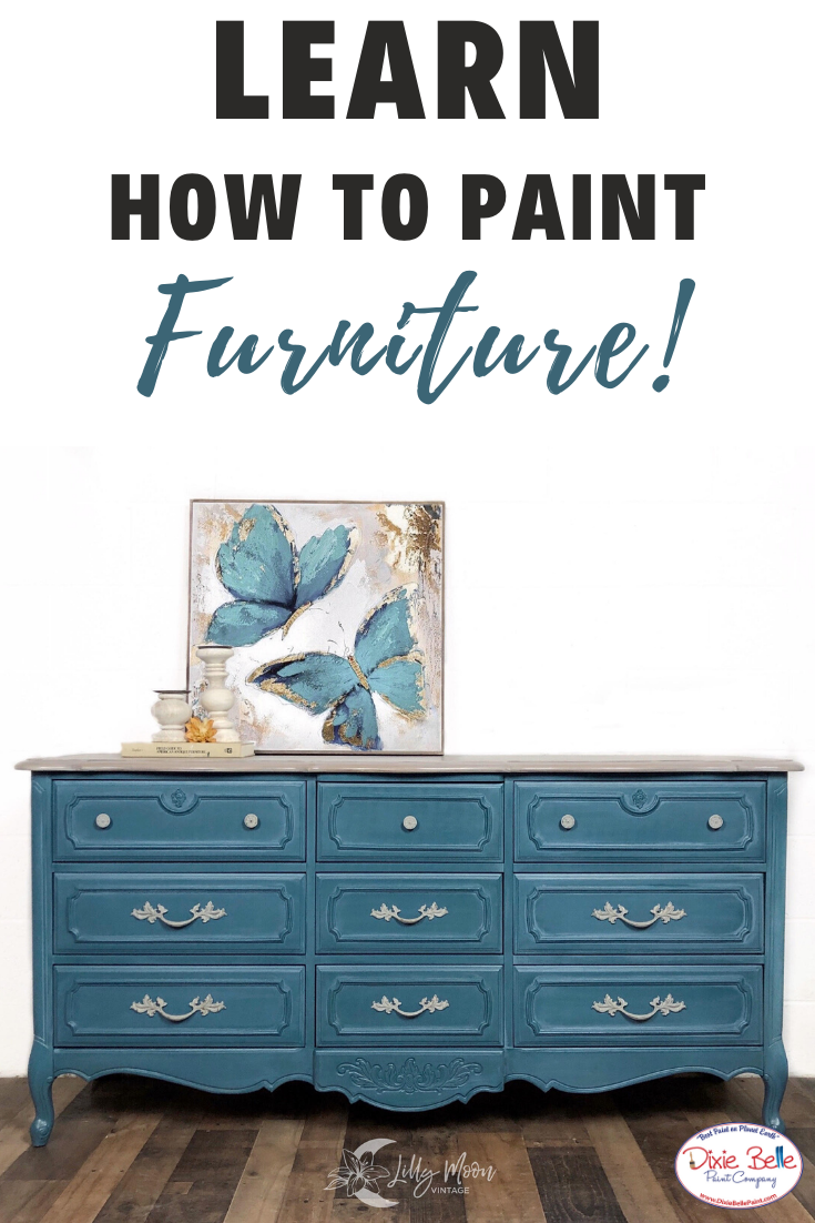 French Provincial Dresser In Dixie Belle Paint Popular Blue Paint Colors Dixie Belle Paint Blue Painted Furniture