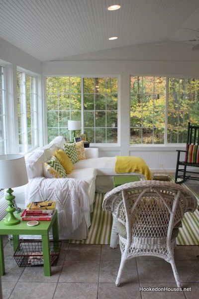 Sun Room With White Green And Yellow Maybe A Splash Of Pink And A Bamboo Rug Sunroom