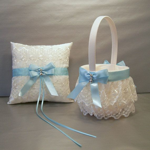 Light Blue Wedding Bridal Flower Girl Basket And Ring Bearer Pillow Set On Ivory… Bahçe