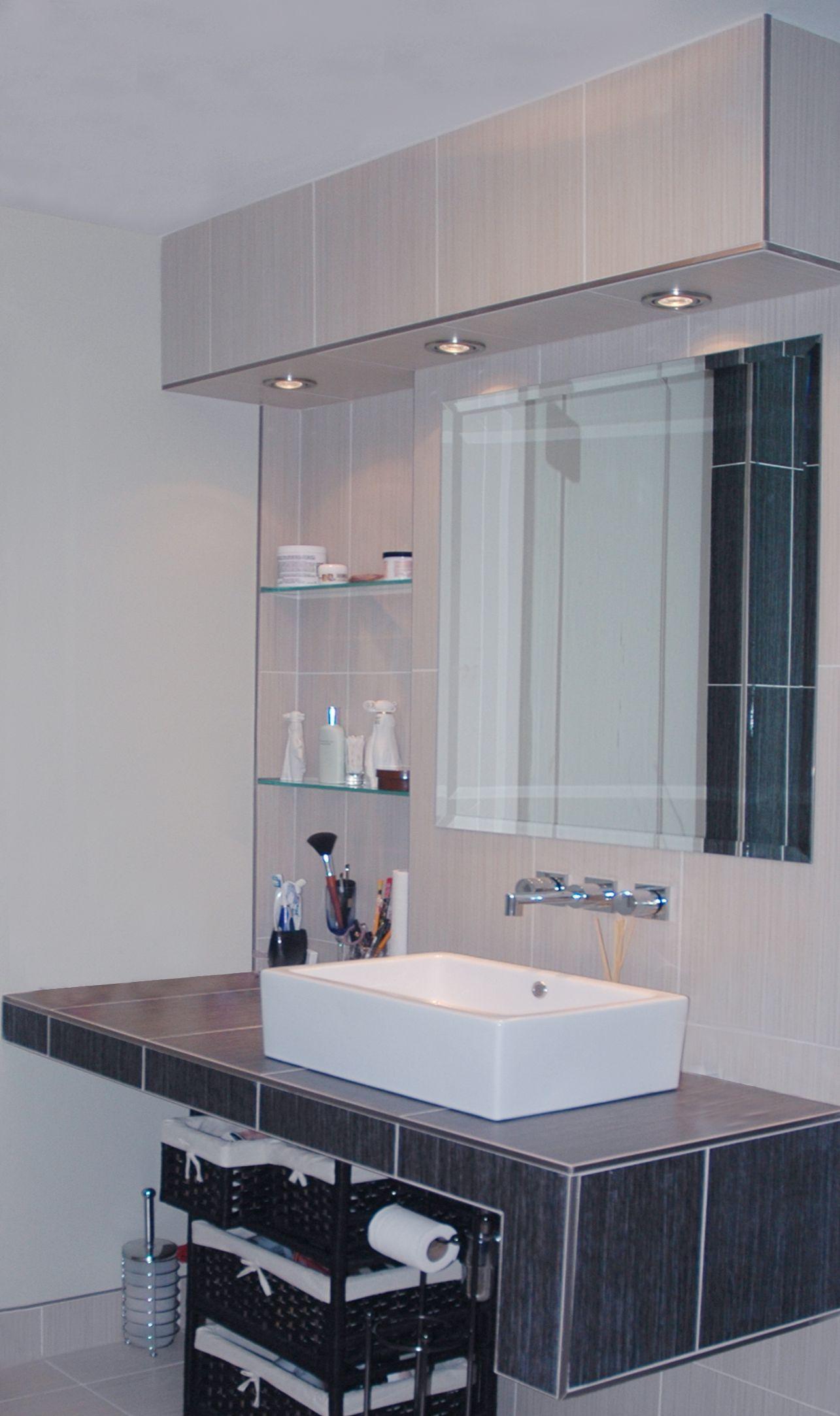 Tiled Floating Vanity Top Mount Sink Wall Mounted Facuets Bathroom Sinks Renovations