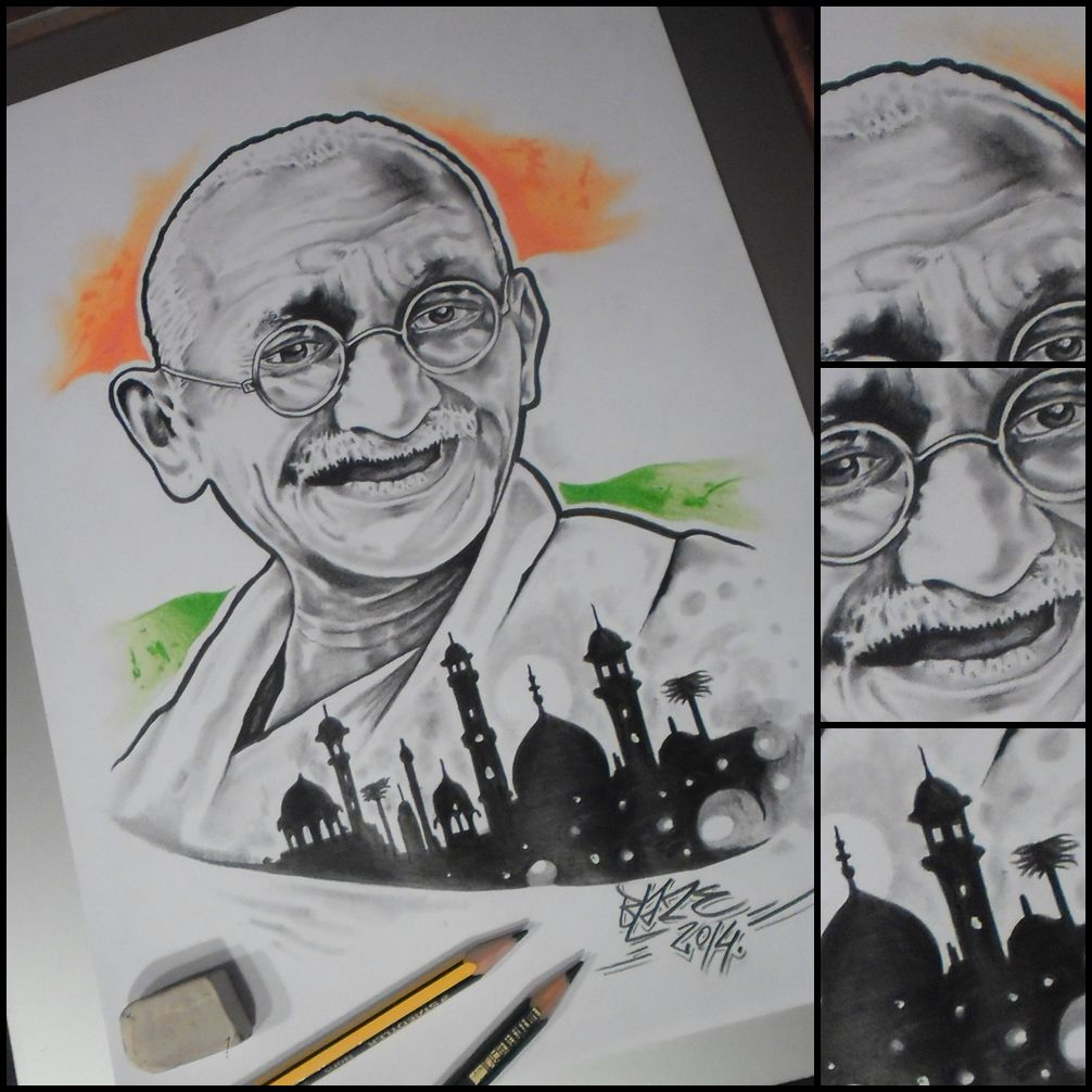 Mahatma gandhi india pencil drawing by blaze