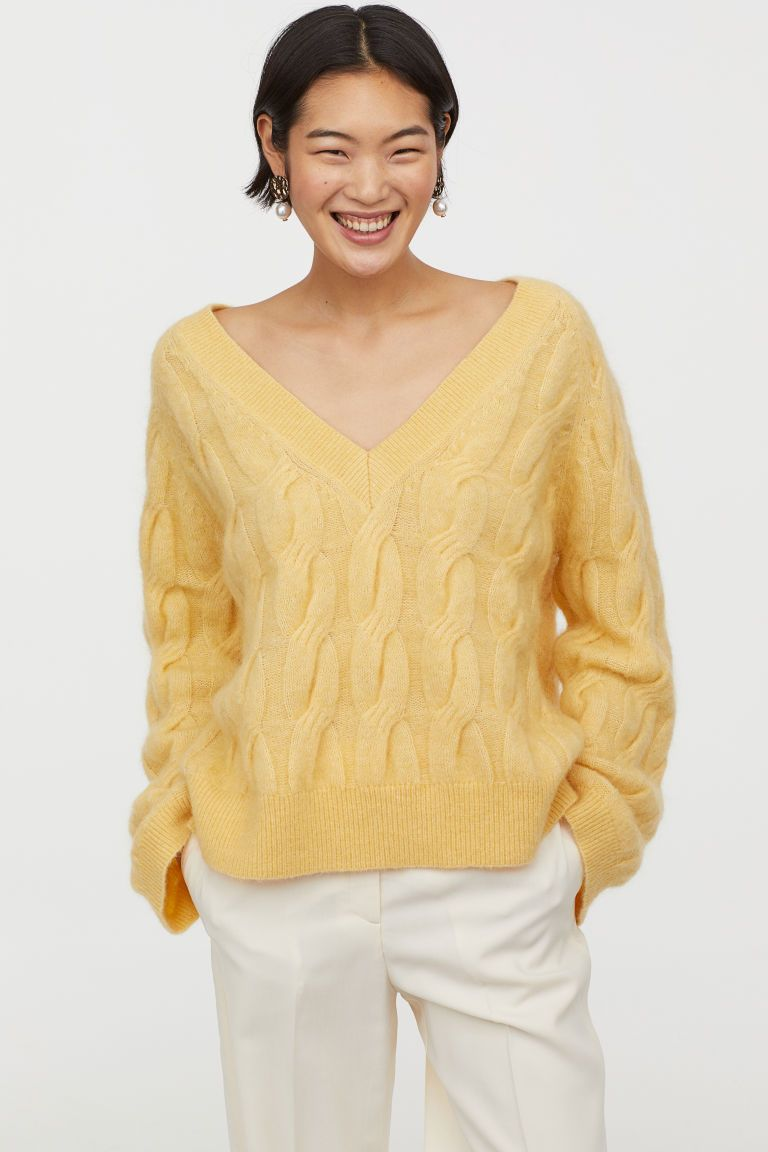 fd84b754c3192 Cable-knit Wool-blend Sweater - Light yellow - Ladies