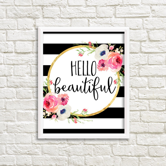 Hello Beautiful Black And White Stripe Watercolor Flower Floral
