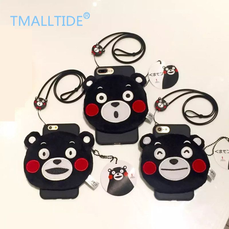 >> Click to Buy << TMALLTIDE Kumamon Wallet Phone Case for Iphone 7 Soft TPU Back Cover with Strap for Iphone 6 6s Plus Coque Capa Shell for 5 5s #Affiliate