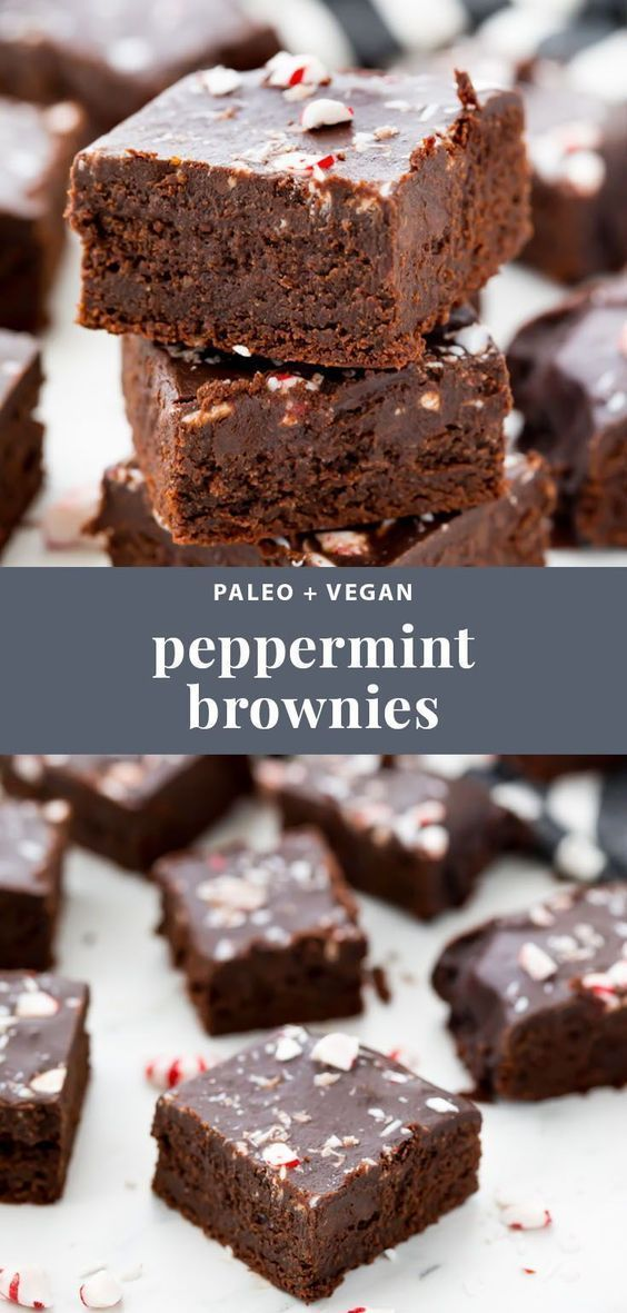 Paleo & Vegan Peppermint Frosted Brownies (Gluten-Free)