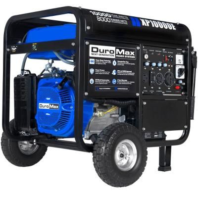 Duromax 10000 Watt 8 000 Watt Electric Start Gasoline Powered Portable Generator With Wheel Kit Xp10000e The Home Depot Dual Fuel Generator Portable Generator Electric Start Generator